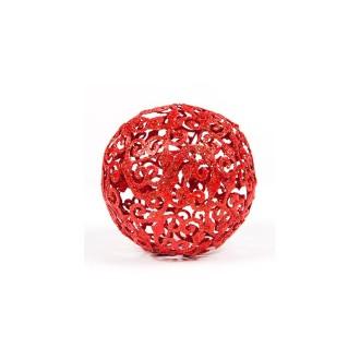 Boule baroque rouge Noël