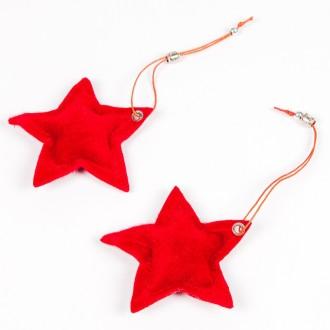Pendentifs étoile esprit fourrure (x2) rouge