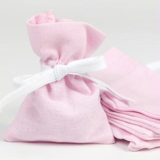 Petits pochons à dragées en lin coton rose(x6)