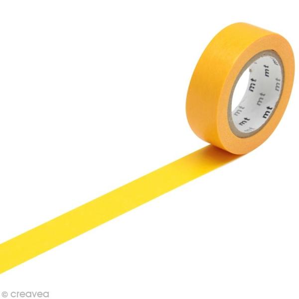 Masking Tape Basic Uni - Orange abricot - 15 mm x 10 m - Photo n°1