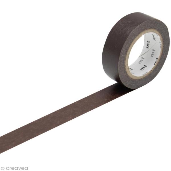 Masking Tape Basic Uni - Marron chocolat - 15 mm x 10 m - Photo n°1