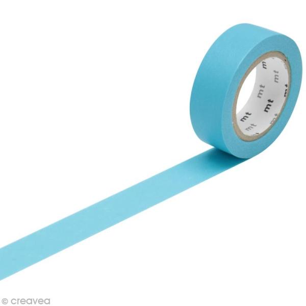 Masking Tape Basic Uni - Bleu clair - 15 mm x 10 m - Photo n°1