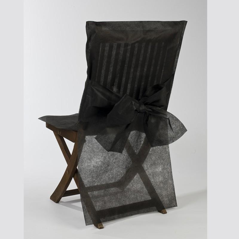 housses de chaise noires x10 noeud en non tiss ballon d co creavea. Black Bedroom Furniture Sets. Home Design Ideas
