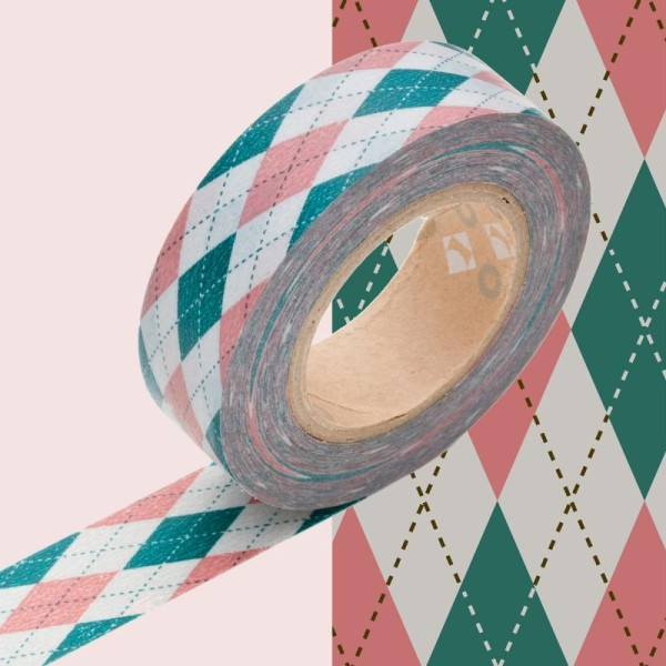 Masking tape à motif jacquard rose x 10 m - Photo n°1