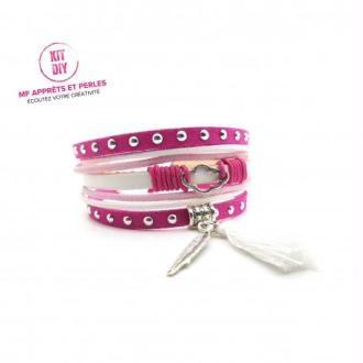 Kit bracelet suédine cloutée fuchsia et cuir rose - par 1 pièce