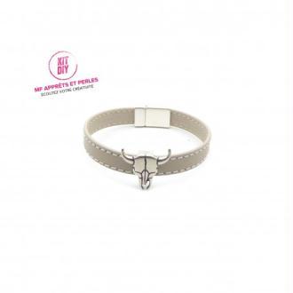 Kit bracelet homme cuir taupe passant tête de taureau - Europe - 1 pièce