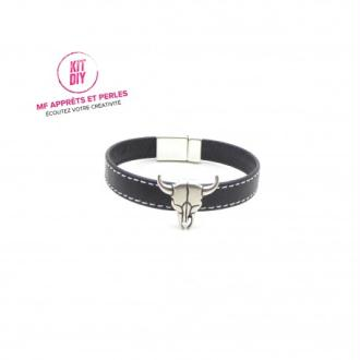 Kit bracelet homme cuir noir passant tête de taureau - Europe - 1 Pièce