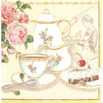 4 Serviettes en papier Service à thé de Grand-mère Format Lunch