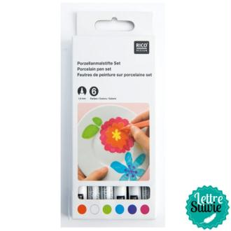 Feutres de peinture sur porcelaine x 6 coloris fashion