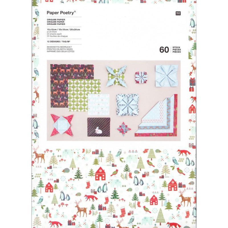 Papier origami no l for t hivernale rico design papier scrapbooking creavea - Papier origami noel ...