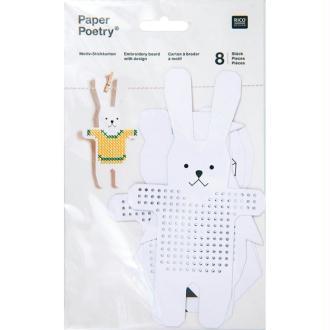 Kit 8 cartons à broder lapin et chouette Rico Design
