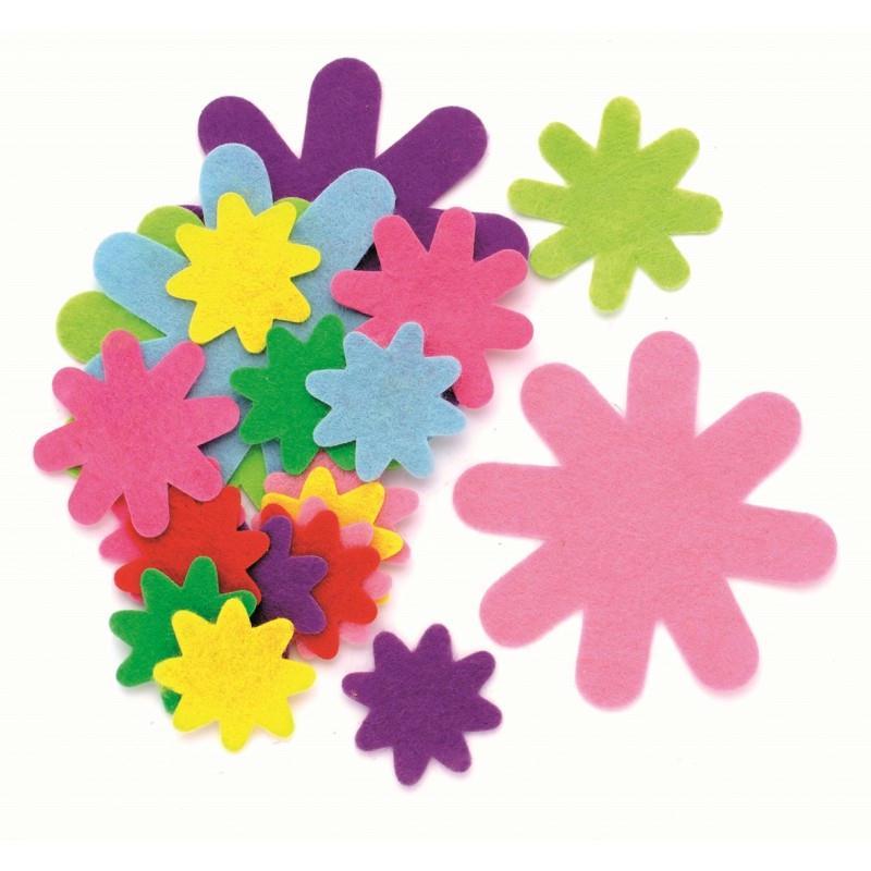 50 fleurs en feutrines coloris assortis glorex formes for Art et decoration janvier 2014