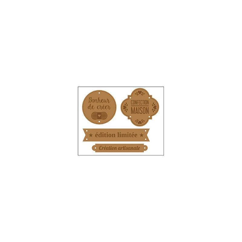 Etiquettes en cuir marron fait maison x 4 artemio for Arbalete fait maison puissante