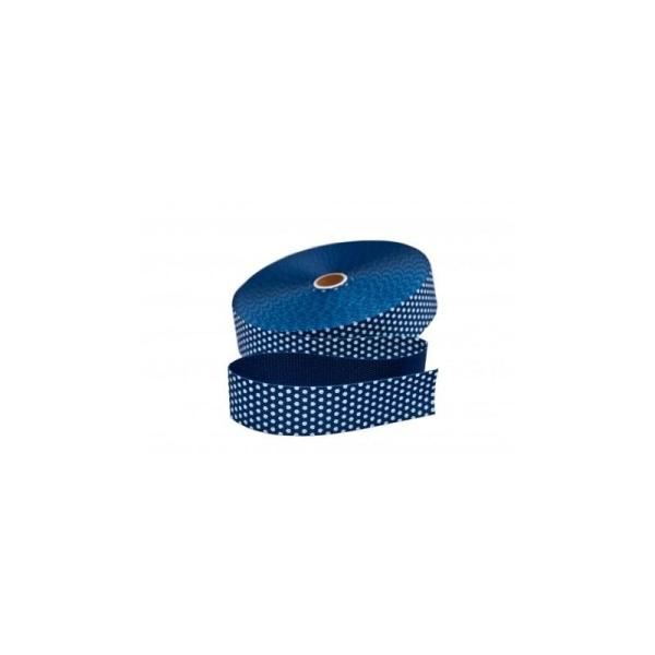 Sangle 30 mm bleu marine à pois blanc vendue au mètre - Photo n°1