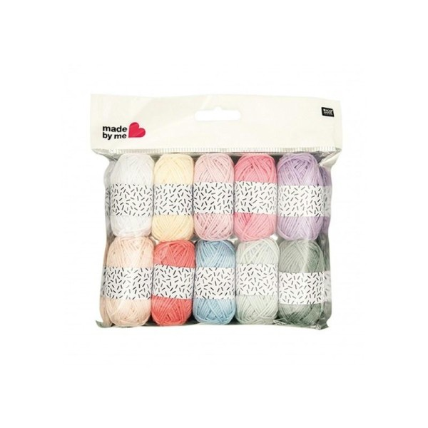 Lot de 10 mini pelotes coloris pastel Rico design - Photo n°1