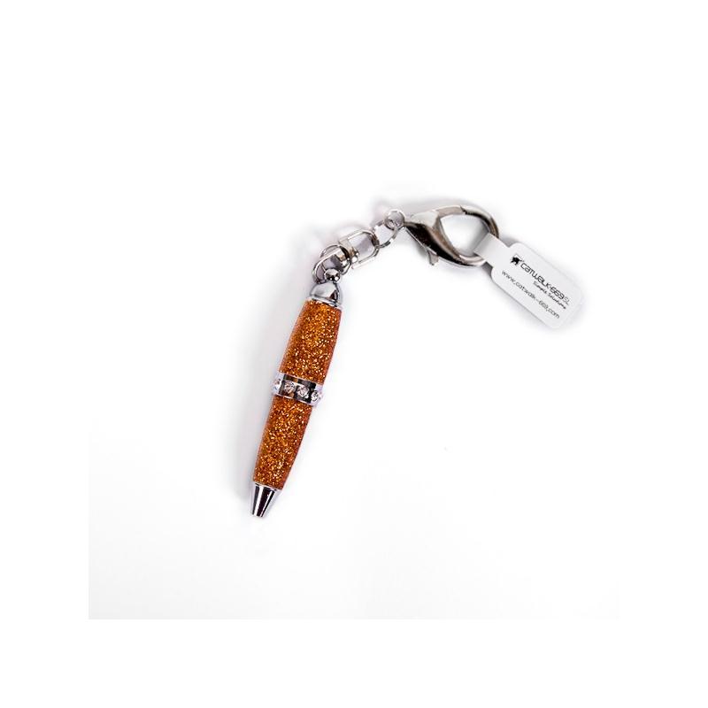 Mini stylo porte-clefs - Cuivre pailleté - Photo n°1
