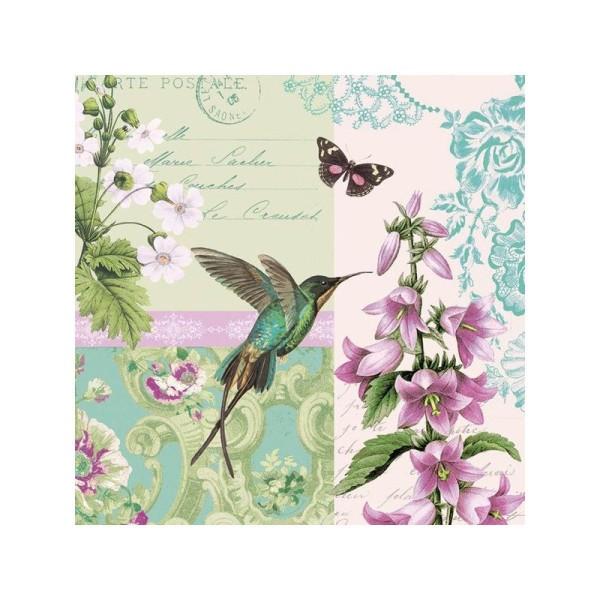 4x serviettes en papier pour découpage DECOPATCH Craft Fleurs poésie
