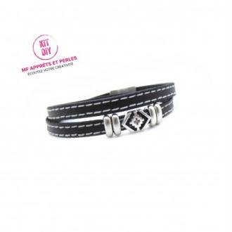 Kit bracelet cuir noir doublé 5mm passant boho - Europe - par 1 Pièce