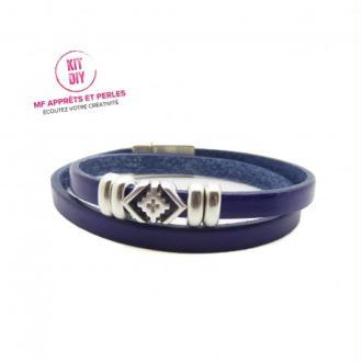 Kit bracelet cuir bleu électrique 5mm passant boho - Europe - par 1 pièce