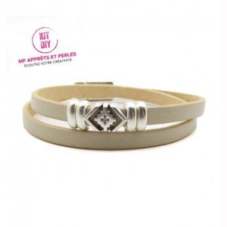 Kit bracelet cuir beige clair 5mm passant boho - Europe - par 1 pièce