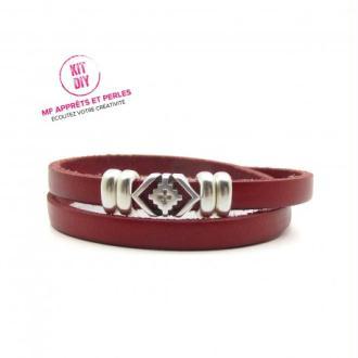 Kit bracelet cuir rouge 5mm passant boho - Europe - par 1 pièce
