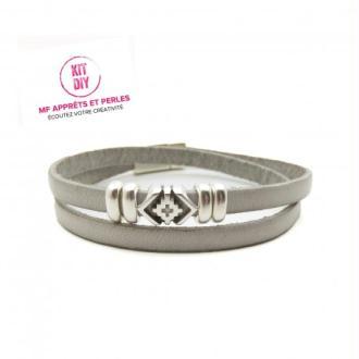 Kit bracelet cuir gris clair 5mm passant boho - Europe - par 1 pièce