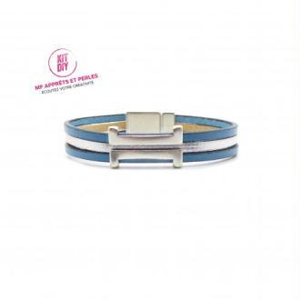 Kit bracelet cuir bleu caraibe et argent passant rectangle H - Europe - 1 pièce