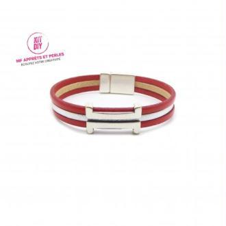 Kit bracelet cuir rouge et argent passant rectangle H - Europe - 1 pièce