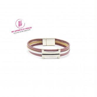 Kit bracelet cuir vieux rose et argent passant rectangle H - Europe - 1 Pièce