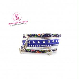 Kit bracelet Liberty Kayoko bleu suédine cloutée et cuir argenté - 1 Pièce