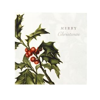 Serviettes en papier Noël aux motifs houx (x20)