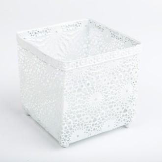 Photophore carré blanc dentelle