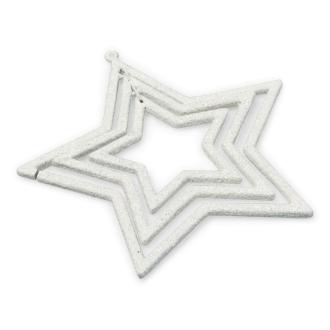 Suspension triple étoiles blanches et  pailletées