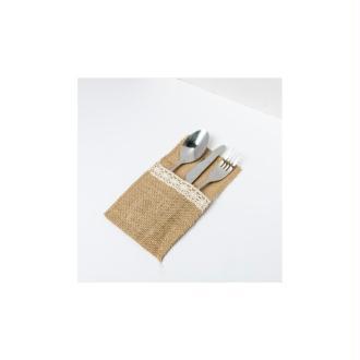 Porte couverts en dentelle et jute (x4)