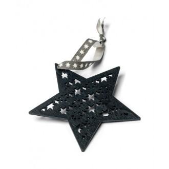 Etoile de Noël en bois noire à suspendre 8 cm