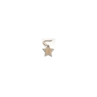 Etoile en bois à suspendre (x4) pailletée argent