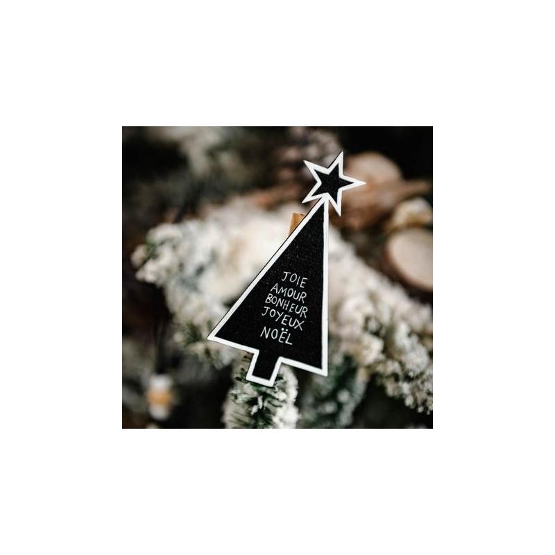 3 pinces sapin joie amour bonheur bois noir blanc mini for Amour de cuisine basboussa