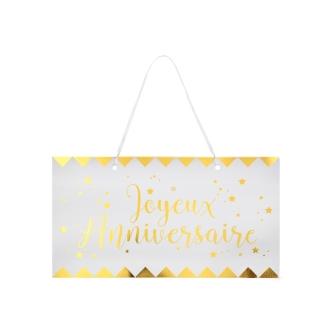 Pancarte Joyeux Anniversaire métallisé blanc et or