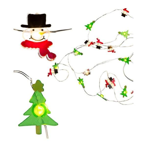 Guirlande lumineuse de Noël bonhommes et sapins - Photo n°1