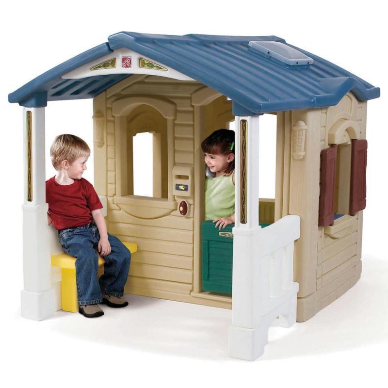 step2 aire de jeu avec v randa avant plastique marron jeux et jouets plein air creavea. Black Bedroom Furniture Sets. Home Design Ideas