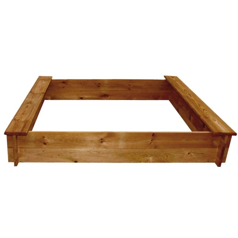 Bac sable carr en bois jeux et jouets plein air creavea for Bacs en bois pour jardin