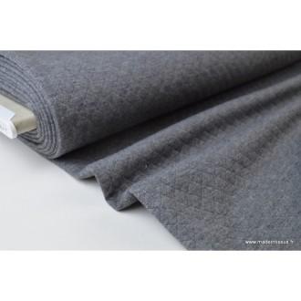 Jersey coton matelassé losange 1x1 gris anthracite  .x1m