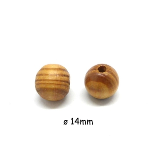 30 Perles En Bois Ronde 14mm Marron Noisette Rayé à Gros Trou