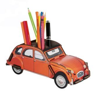 Pot à crayons 2CV orange en bois à assembler