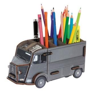 Pot à crayons HY gris en bois à assembler