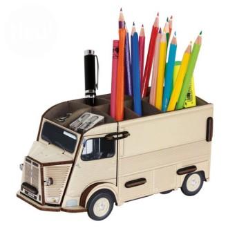 Pot à crayons HY beige  en bois à assembler