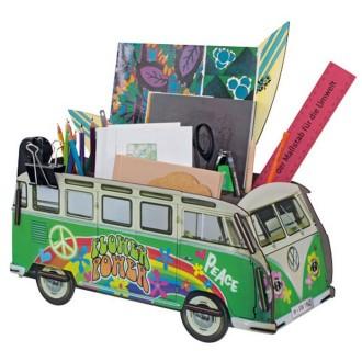 Organiseur de bureau Combi vert hippie  et ses 2 planches de surf en bois à assembler