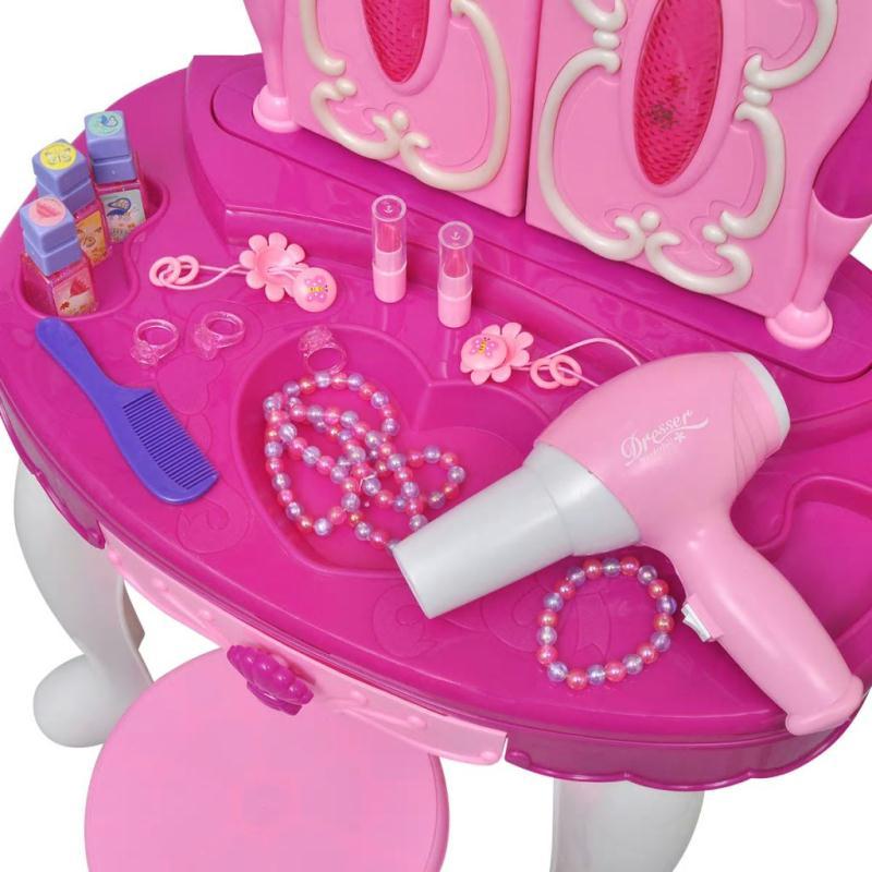 Coiffeuse de jouet avec lumi re son et 3 miroirs pour for Fille au miroir