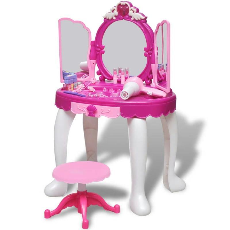 Coiffeuse de jouet avec lumi re son et 3 miroirs pour for Miroir en plastique