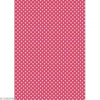 Feuille decopatch n°660, Formes arrondies sur fond rose, Papier 30x39 cm